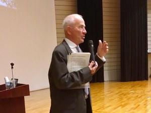 Dr Nobel during his speech