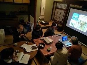 Listening to explanation of Honorable<br /> Professor Fujita and Researcher Tsunamoto<br />of Graduate School of Human Life Science<br />in Toyosaki Nagaya (Row Houses)