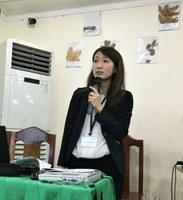 Engineer Hanaoka<br />explaining on management of<br />dialysis access