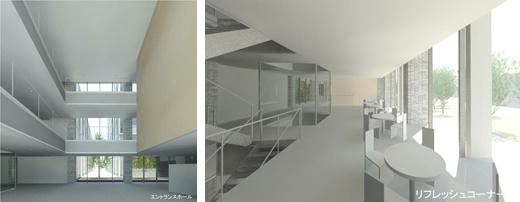 左:エントランスホール 右: リフレッシュコーナー 研究者・学生が憩う、明るく快適な交流空間です。