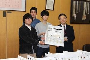 学生サポートセンター「中庭」整備コンペの入賞チームが学長にプレゼン!2