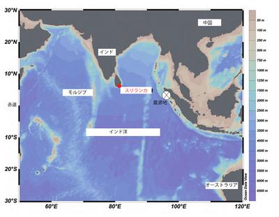 図1 スリランカの位置と2004年12月のスマトラ沖地震の震源地