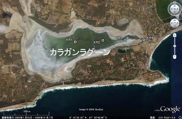 図2-2 カラガンラグーンにおけるコア採取地点