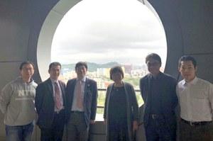左からWu教授、山田教授、天尾所長 Chenセンター長、Chen教授、田部特任講師