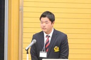 最優秀課外活動賞受賞(団体の部)     硬式野球部 八重尾 駿さん